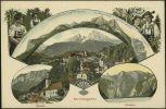 """""""Ansicht von Berchtesgaden""""<br />Postkarte mit Blick auf Berchtesgaden und die Sehenswürdigkeiten in seiner Umgebung (um 1913)<br />© Haus der Bayerischen Geschichte<br /><br />Bevor die Touristen in Scharen nach Bayern kamen, entdeckten im 19. Jahrhundert die Maler die Landschaft für sich. Die Gebirgsgegenden um Berchtesgaden, Ramsau und den Königssee lagen auf der obligatorischen Route vieler Maler nach Italien. So entstand zum Beispiel der Malerwinkel am Königssee. Mit dem Siegeszug der Postkarte ab den 1870er Jahren schickten schließlich auch Feriengäste Ansichten von ihren Urlaubsorten nach Hause."""