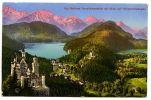 Kgl. Schloss Neuschwanstein mit Blick auf Hohenschwangau <br />Postkarte (versandt am 19.04.1914)<br />Theresia und Johann Rietzler, Seeg-Enzenstetten<br />© Haus der Bayerischen Geschichte<br /><br />Noch als Kronprinz hatte der Vater von König Ludwig II. Hohenschwangau erworben. Das Schloss wurde zur Sommer- und Ferienresidenz der königlichen Familie. Von hier aus verfolgte Ludwig II. die Bauarbeiten auf Schloss Neuschwanstein mit einem Fernrohr.